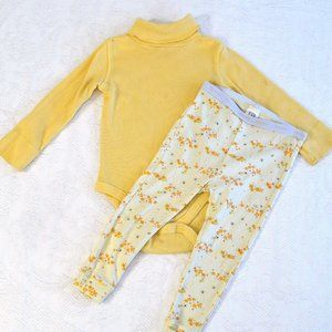 Gap Bees Floral Yellow Rib Scallop Turtleneck 2T
